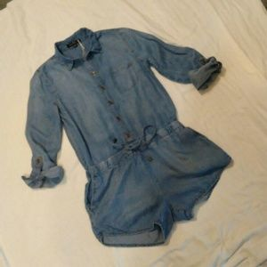 Size small denim long sleeved romper